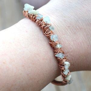 Genuine Aquamarine Gemstone Copper Cuff Bracelet